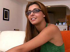 I love me a woman with glasses. It reminds me of a sexy librarian chick I once had a crush on in high school. Rio is from Brazil and she's down to film