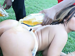 Busty Claire fucks a couple guys on the street
