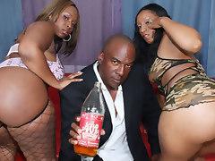 Two thick black girls fuck big black dick!