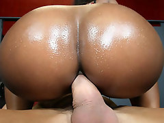Rane gets her ebony ass covered in man seed