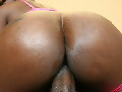 Hot black botoy girl takes huge cock in the ass