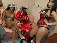 Gang of big black booty sluts get their fuck-on with hard dick