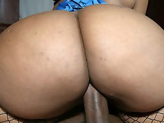 Curvy black girl Cherokee bounces her huge ass on a big cock