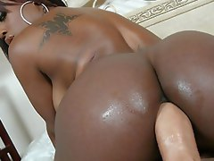 Trashy black girl Jada Fire with huge ass fucks a couple guys outside