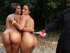Ghetto hoes with bubblelicious butts taking turns on a big black cock