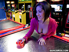 Of course the nerds are going to find a hottie at the arcade and believe me when I tell you she's a hottie. After Paul makes an attempt to mack game to this fine femenina they get her involved in a wager that gets her to go back to their house for a lil more fun and games. You have to see this girls tits. They're magnificent! It would take me at least 7 days to lick her left nipple. Not because they're so big but because I would want to go the distance. They're worth the cotton mouth. Enjoy!