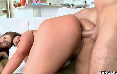 Huge pretty bottom video -  Angel Cakes and Angelina Castro. Angel is a hot little Cuban mama with 2 liter titties and an ass the size of Alaska. Angelina is a white girl with a whole lot of ass